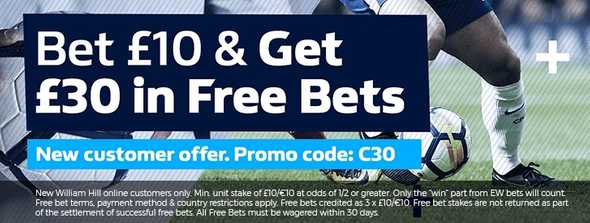 William Hill only offer a £30 bonus