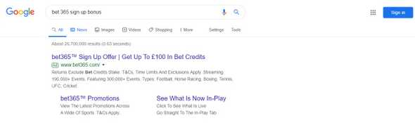 Google search showing bet365 signup bonus